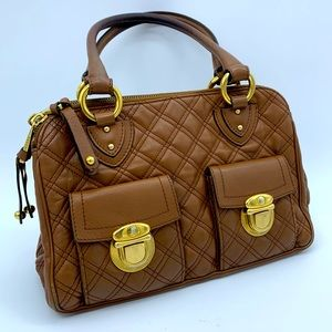 Marc Jacobs quilted brown leather shoulder bag